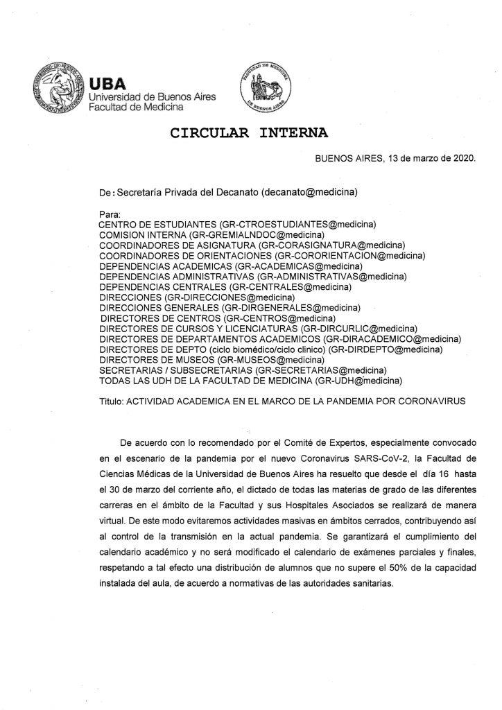 0001 724x1024 - Coronavírus faz Universidade de Buenos Aires suspender as aulas