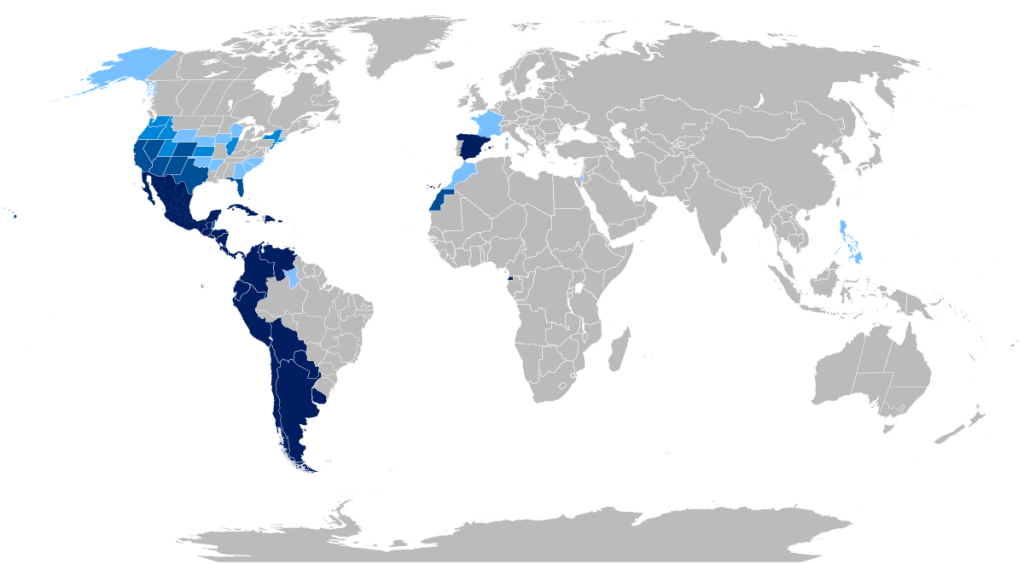 1200px Hispanophone global world map language 2 2222222222 1024x564 - Descubra as Diferenças do Castelhano e Espanhol